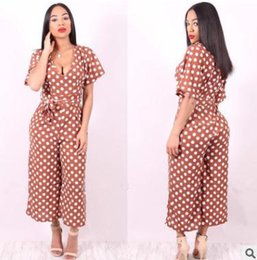 d78a8053dfd 2018 summer women jumpsuits Spot V-neck sexy jumpsuit Belted wide-leg pants  Casual ladies clothing Brown trousers