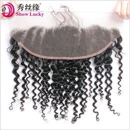 Burmese Curly Hair Weave Australia - Unprocessed Virgin Hair Indian Deep Curly Lace Frontal 13*4 Swice Lace 8-22 Inch Remy Hair 100% Human Hair Weave Shipping Free