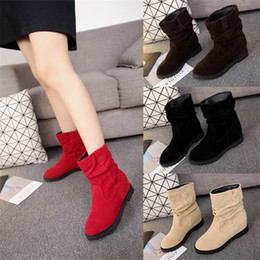 3d1396c8f818 Favofans Hot Sale Womens Girls Round Toes Wedge Heel Faux Suede Casual Ankle  Mid Calf Boots Shoes FF-B1028 Size Customized
