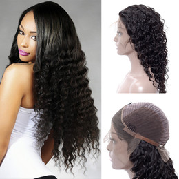 Discount light brown wigs for girls - Sexy Deep Wave Lace Front Wigs 8 Grade India Virgin Hair Wig for Black Girl Natural Black Lace human hair wigs