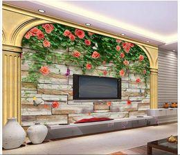 $enCountryForm.capitalKeyWord NZ - 3d wallpaper custom photo mural Rose flower brick wall TV background wall living room Home decoration 3d wall murals wallpaper for walls 3 d