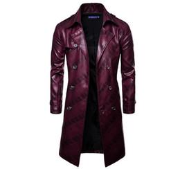Herren Frühjahr und Herbst Korea Version der neuen Trend Boutique schöne dunkle Linien zweireihige Lederjacke / M-3XL