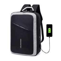 Train Usb UK - Backpack Waterproof Wearable Breathable Password Lock Anti-theft Bag USB Charging Men Computer bags outdoor sport Training Bags