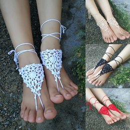 Wholesale Crochet white barefoot sandals Nude shoes Foot jewelry Beach wear Yoga shoes Bridal anklet bridal beach accessories white lace sandals S2091