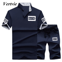 Polyester Jogging Suits NZ - Vertvie Men Running Suits Men's T-shirt Sport Shorts 2018 Sport Summer 2PCs Short Sleeve Jogging Set Slim Tracksuit Fitness Sets