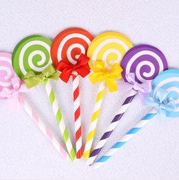 wedding cupcakes 2019 - 6pcs Colored Cupcake Cake Topper Paper Lollipop With Straw Inserted Card Flags Lovely Gift Decoration For Wedding Birthd