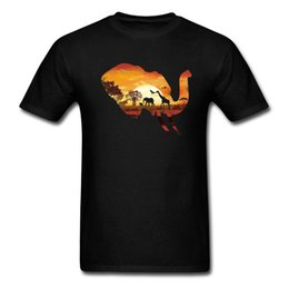 $enCountryForm.capitalKeyWord UK - O Neck Tshirt Men's T Shirts Wild Safari T Shirt Sunset Elephant Tops Giraffe Printed Tees Cotton Fabric Clothes Friends Gifts