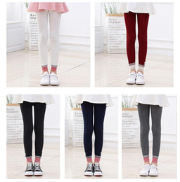 $enCountryForm.capitalKeyWord NZ - Baby Girls preppy style Leggings Pants Spring Autumn Kids Cartoon Animal Bear Printed Leggings Solid Color Children Tights