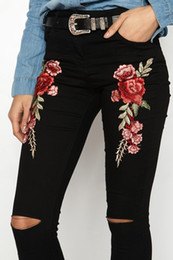 Wholesale blue flower skinny jeans for sale - Group buy Fashionable Newest Women Flower Embroidery Hole Jeans High Waist Pencil Pants Skinny Denim Trousers Size S XL