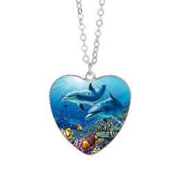 Dolphin Gifts For Girls NZ - Dolphin Animal Pendant Necklace 25mm Heart  Glass Cabochon Christmas Birthday 918328abf2db