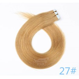 human hair weft extensions uk 2019 - Wholesale remy tape in hair extensions UK 100% Brazilian human hair #27 20inch 50g skin weft hair extensions cheap human