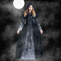 cosplay costumes black dress NZ - Halloween Adult Dress Black Fashion Bandage Long Sleeve Witch Demon Cosplay Horror Skull Vampire Stage Party Costume