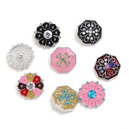 $enCountryForm.capitalKeyWord Australia - Newest NOOSA Ginger Snap Crysal Chunks Colorful Oil Painting Flower 18MM Snap Buttons DIY Snap Bracelet Jewelry Gift