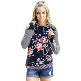 Striped ShirtS for women online shopping - 2018 Women Floral Striped Long Sleeve Shirt Loose Blouse Tops Hoodie Sweatshirt Sweatshot hoodies tracksuit for women female jacket