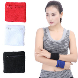 Wholesale Wrist Zipper Wallet Australia - Athletic Sweatband 4 Colors Zipper Sweatband Wristband Wrist Wallet for Basketball Running Football Tennis For Men and Women Free DHL G899Q