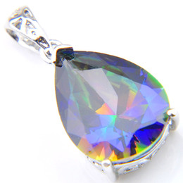 Chinese  925 Sterling Silver Jewelry 10 Pcs Valentine's Day Gift Rainbow Water Drop Natural Mystic Topaz For Woman Zircon Sweater Necklaces Pendant manufacturers