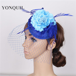 Discount hair styles for weddings Victorian Style ladies party hair fascinators nice fsilk flower hair accessories Mesh Billycock Hat for wedding craft OF