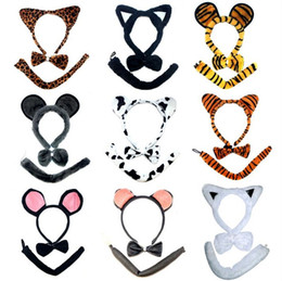 Cos Animal Tiger Ear Tail Bow 3 unids Diadema Set Party Disfraz Disfraz para Niños Adultos Navidad Carnavales de Halloween Accesorios de disfraces