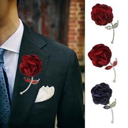 Vintage rhinestone pins online shopping - Vintage Unisex Rhinestone Inlaid Cloth Rose Flower Brooch Pin Party Coat Decor