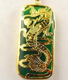 Pendant Jade Australia - Wholesale Emerald Green Jade Dragon Long Yellow Gold Plated Pendant & Necklace