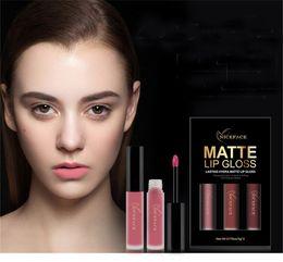 $enCountryForm.capitalKeyWord NZ - NICEFACE Brand 3 Colors Set Liquid Lipsticks Make Up Pigments Sexy Red Purple Velvet Matte Lip Gloss Makeup Kit Wholesale 1224051