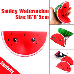 Used Toys Wholesale Australia - Free DHL 50pcs 16cm Watermelon Squishy Slow Rising Jumbo Kawaii Smiling Face Squishy Kids Antistress Toy Squeeze Fun Toy Home Office Used