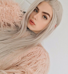 $enCountryForm.capitalKeyWord Australia - Silver Grey Color Heat Resistant Hair Straight Blogger Daily Makeup Synthetic Lace Front Party Wigs For Holiday Gift