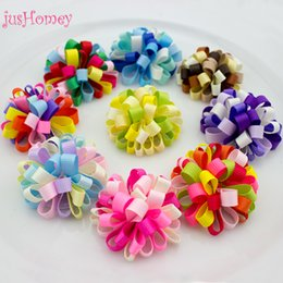 Green Ribbon Pins NZ - 4pcs Handmade Grosgrain Ribbon Flowers 50mm Baby Colors Hair Pin Flowers Artificial Carnation DIY Sewing Craft