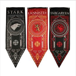 wholesale game thrones gifts 2019 - 46*150cm New Game of Thrones Tournament Banner Decor Flags Lannister Flag Living Room Party Bar Bedroom Polyester Flag f