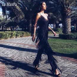 celebrities jumpsuits rompers 2019 - Runway 2017 Newest Celebrity jumsuit Black Strappy Sleeveless Tassels Jumpsuits black white Women Rompers Sleeveless Jum