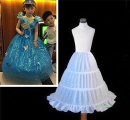 Petticoat Top Sale 3 cerceaux pour les enfants de fleurs blanches pour les enfants une ligne jupons Crinoline filles robe de bal robes robes jupon fille pas cher vente