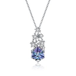 $enCountryForm.capitalKeyWord UK - S925 Sterling Silver Snowflake sugar cube Crystal Pendant Necklace Christmas Necklace Necklace