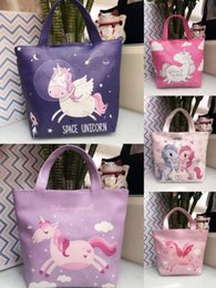 Wholesale Cute cartoon Unicorn PU lunch box bag handbag cosmetic bag waterproof portable Satchel