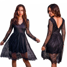 red long cocktail dress NZ - Spring Autumn New Women's Long sleeve Lace Sexy Party Dresses Elegant Bodycon V-Neck Sexy Cocktails dress S M L XL black red sky blue