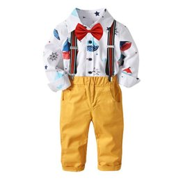 babies clothes for boys UK - 2018 Autumn Baby Boy Clothing Sets Solid Cotton Print Long Sleeve Shirt and Trouser Straps Pants Braces Suit for Kids Chrismas Present