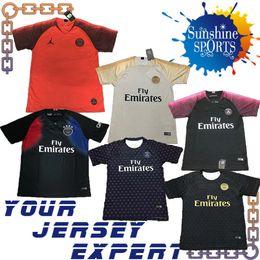 e2e2c015a Game Worn Jersey NZ - PSG training wear 18 19 soccer Jersey Black white red  blue
