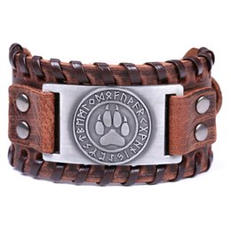 Chinese  Lemegeton Wolf Claws Viking Bangle Nordic Runes Bear Paw Mens Wide Cuff Genuine Leather Bracelet Wiccan Braceletes Masculinos manufacturers