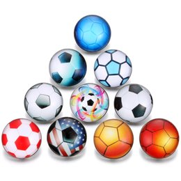 Snap Glasses For Australia - Wholesale Sports football Jewelry Noosa Snaps Buttons chunk Interchangeable jewelry Ginger 18mm Glass Snap buttons for Snap Bracelet Bangle