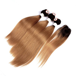 $enCountryForm.capitalKeyWord UK - Brazilian Ombre Human Hair 3 Bundles With Top Closure Straight 1B 30 Medium Auburn Human Hair Weaves 1.5 Inches Round Lace Closure