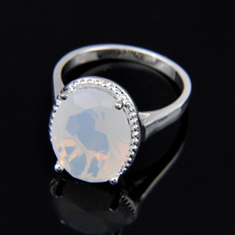 Chinese  5pcs lot Bulk Price Christmas Gift 925 Sterling Silver Oval White Moonstone Gems Fashion lady Ring r0482 NEW manufacturers