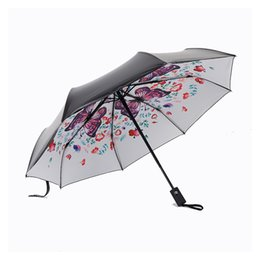 $enCountryForm.capitalKeyWord Australia - Fully automatic Flower umbrella Black Coating sunscreen sunny umbrella rain woman 3 folding female princess Parasol