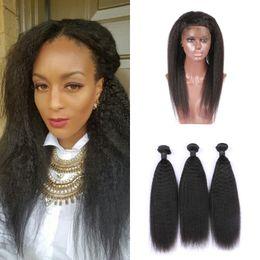 kinky weave bundles closure 2019 - 360 Frontal Lace Closure With 3pcs Human Hair Bundles Virgin Malaysian Kinky Straight Virgin Hair Extensions 8-30inch di