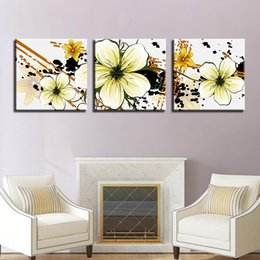 Canvas Art Prints Flowers NZ - Canvas HD Prints Posters For Living Room Wall Art Petal Pictures Framework 3 Pieces Abstract Yellow Flowers Paintings Home Decor