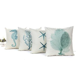 Chinese  Bulk Lots 4 Blue Sea Creature 45*45cm Linen Household Pillow Cushion Covers Bedroom Set Christmas Gifts Home Decor Party Decoration manufacturers