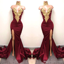 Discount black evening dresses new designs New Design 2K18 Sexy Burgundy Prom Dresses with Gold Lace Appliqued Mermaid Front Split for 2017 Long Party Evening Wear