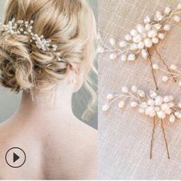 Wholesale designer jewelry hair jewelry wedding hairpins for bridal U shape pearl hairpins crystal handmade hairpins hot fashion