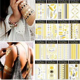 Gold Sticker Tattoos NZ - Wholesale- Hot 2015 New Design Sexy Skull Floral Waterproof Temporary Tattoo Flash Metallic Gold Silver Fake Tattoos Stickers for Body Arm