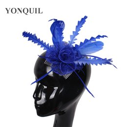 navy fascinator UK - Girls cute floral hair fascinators accessories red royal blue navy blue white feather headwear elegant ladies charming rose headpiece SYF17