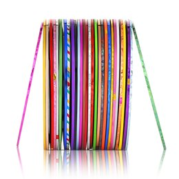 punk stickers 2019 - 30Pcs 30 Multicolor laser Punk Mixed Colors Rolls Striping Tape Line Nail Art Chirstmas Decoration Sticker DIY Nail Tips
