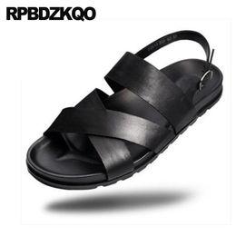 a9c5fc37c19f Roman Men Gladiator Sandals Summer Italian Fashion Casual Shoes Genuine  Leather Black Designer Open Toe Sneakers Beach Strap